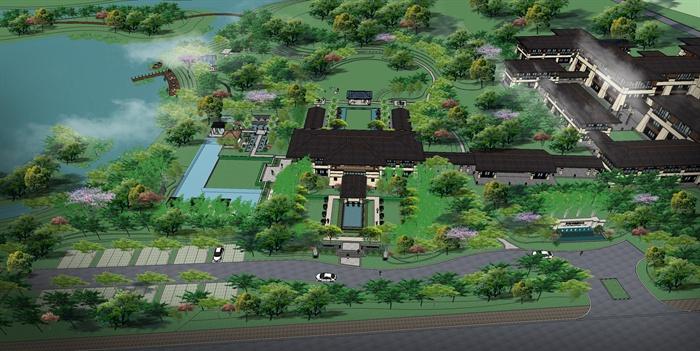 某东南亚风格温泉酒店旅游景观规划设计SU模型