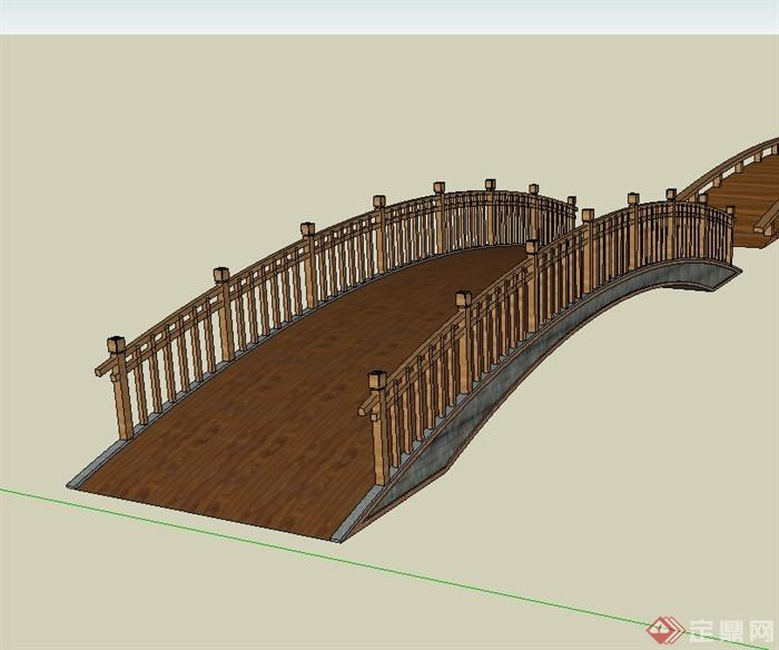 某新中式景观木桥设计su模型(1)