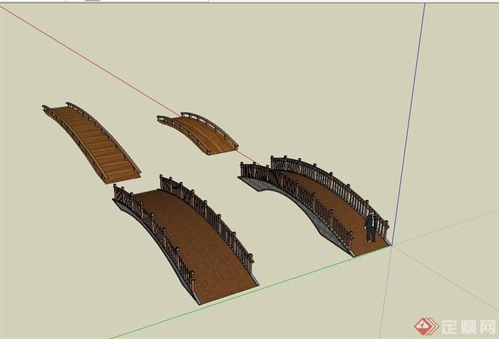 某新中式景观木桥设计su模型[原创]