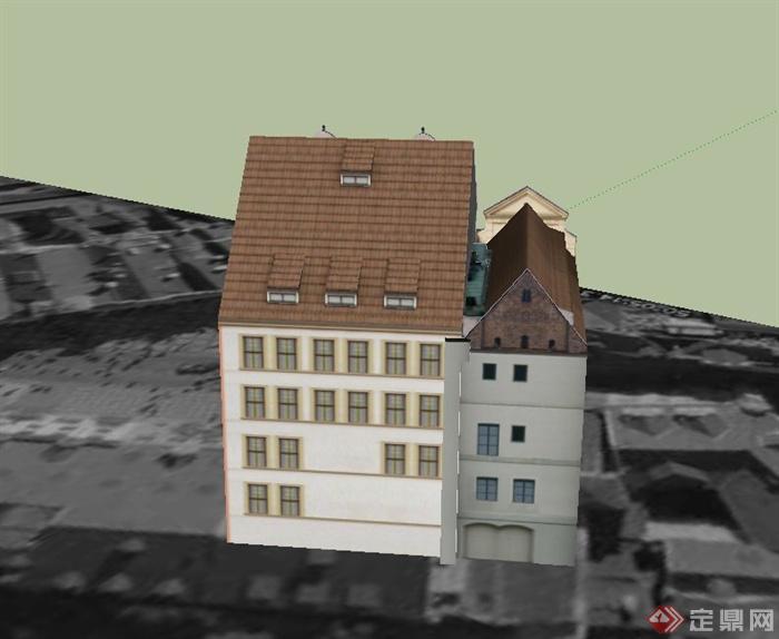 某欧式三层半住宅建筑设计su模型