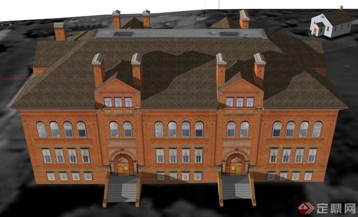 欧式教学楼建筑设计su模型(1)