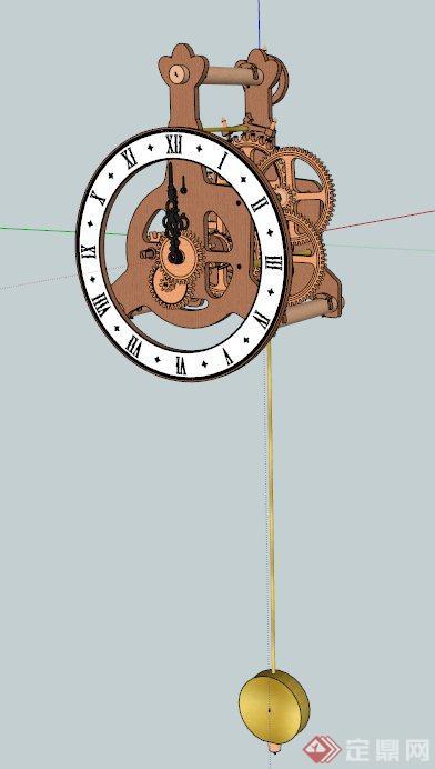 欧式齿轮钟表设计su模型