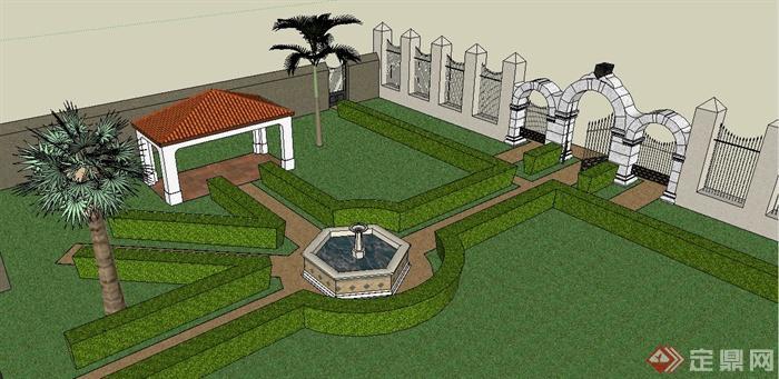 欧式风格庭院景观设计su模型