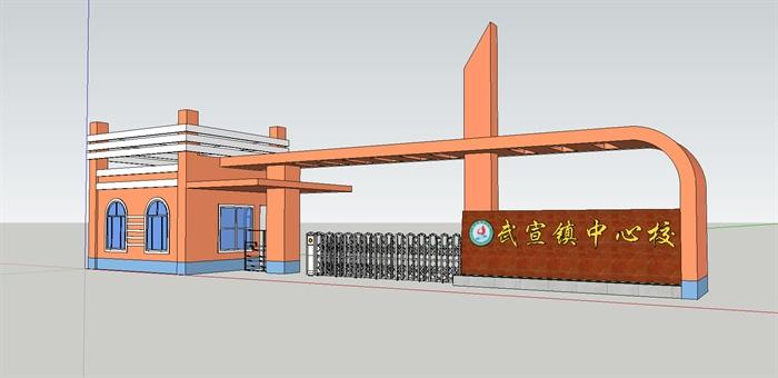两款现代风格学校大门设计su模型