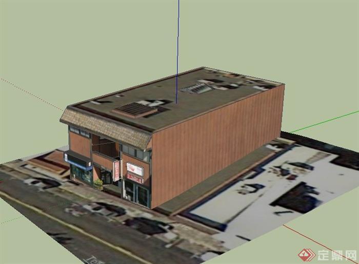 某两层欧式便利店建筑设计su模型
