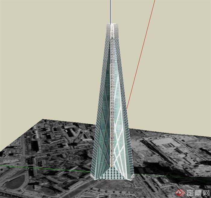 某现代三角形电信信号塔建筑设计su模型