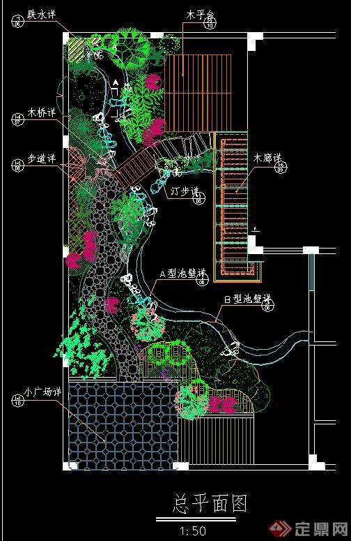 某滨水园林景观设计CAD施工图三维cad模型图片