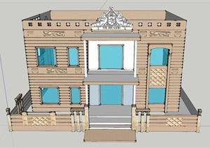 某栋建筑外墙装饰设计SU(草图大师)模型