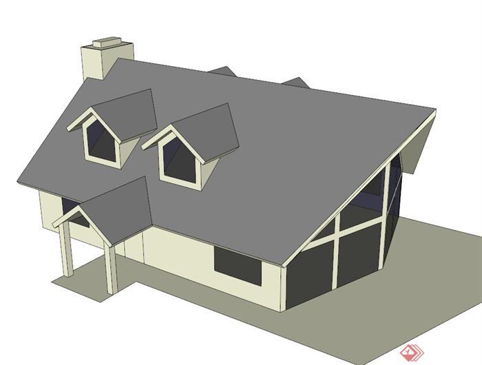 一栋住宅建筑框架设计su模型