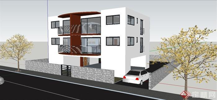某地现代三层小别墅建筑设计su模型图片