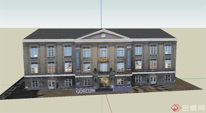 某欧式三层会所建筑设计su模型