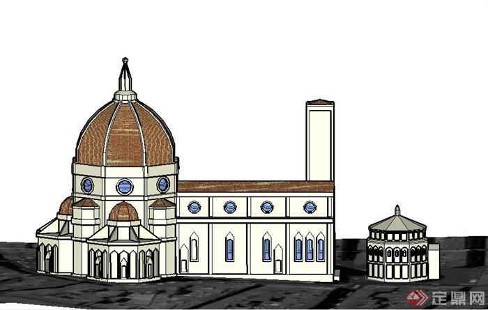 某欧式风格大教堂建筑设计su模型