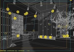 某餐厅室内装饰及入口景观3dmax模型