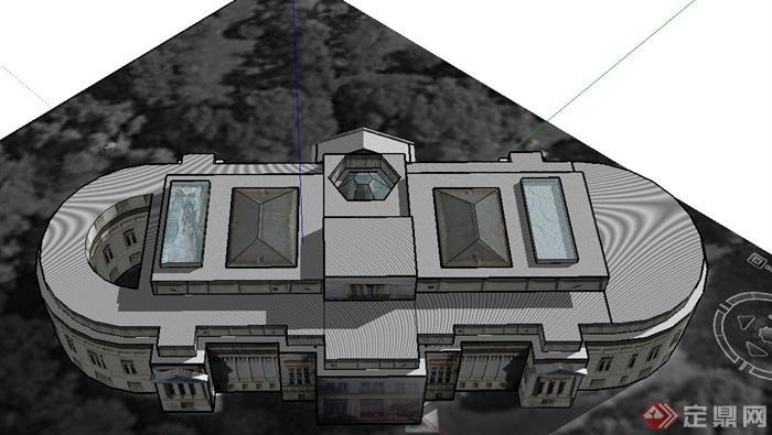 某欧式椭圆形教堂建筑设计su模型