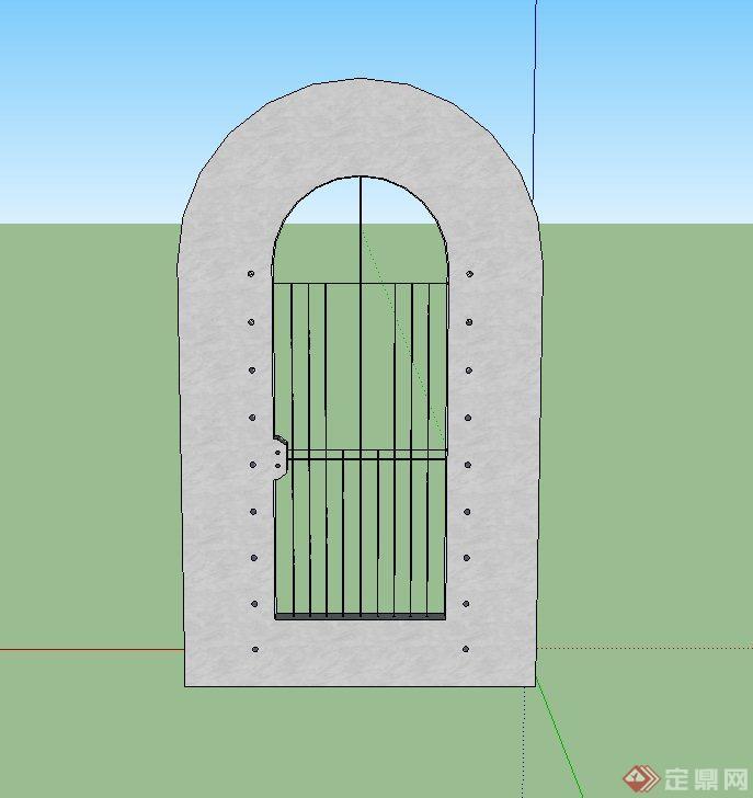 某圆形铁门设计su模型