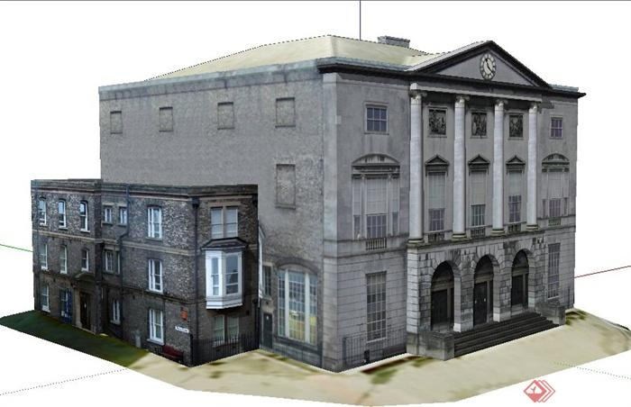 某欧式三层办公大楼建筑设计su模型