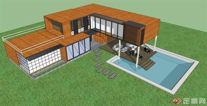 乡村别墅建筑设计su模型(带效果图+排版方案)(4)