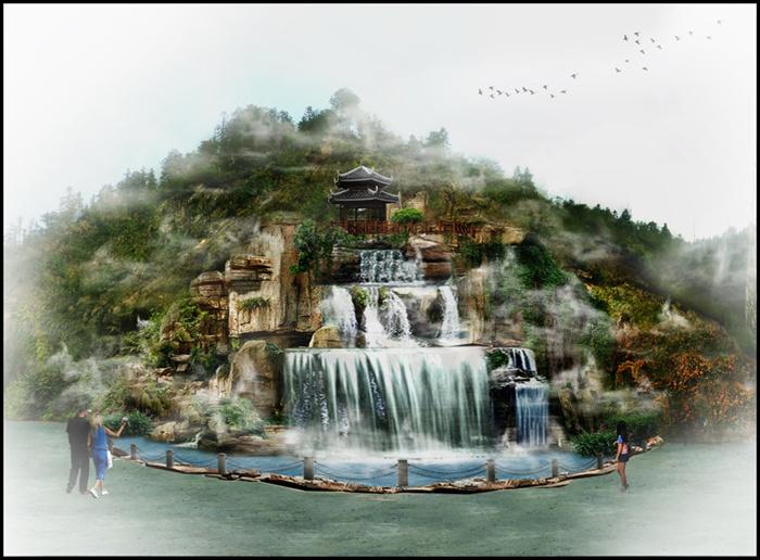 园林景观假山瀑布psd效果图