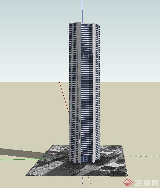 某现代多边形高层办公建筑设计su模型