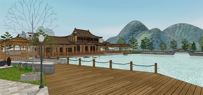 中式新农村池塘滨水公园景观设计su模型