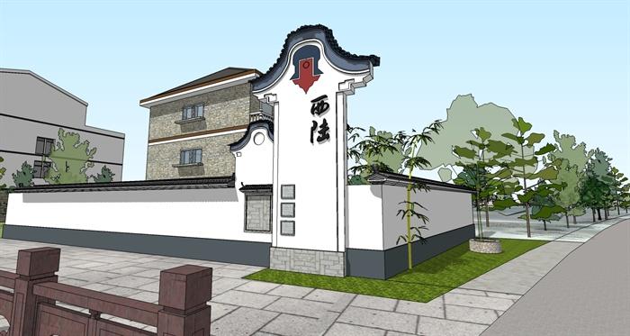 中式风格新农村入口景观设计su模型图片