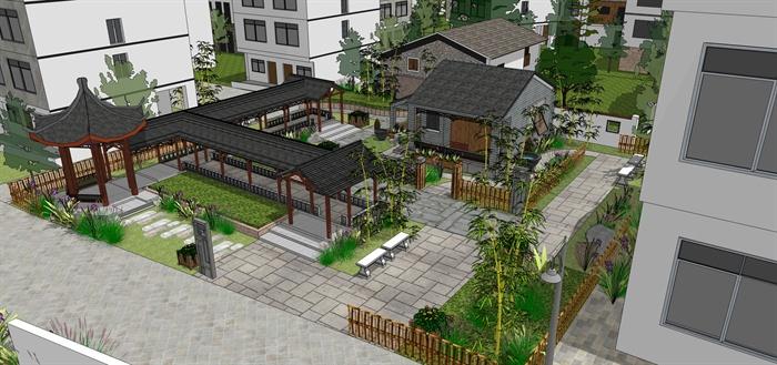 新公园住宅区中式图纸景观设计su方向上字母模型_农村怎样写图片