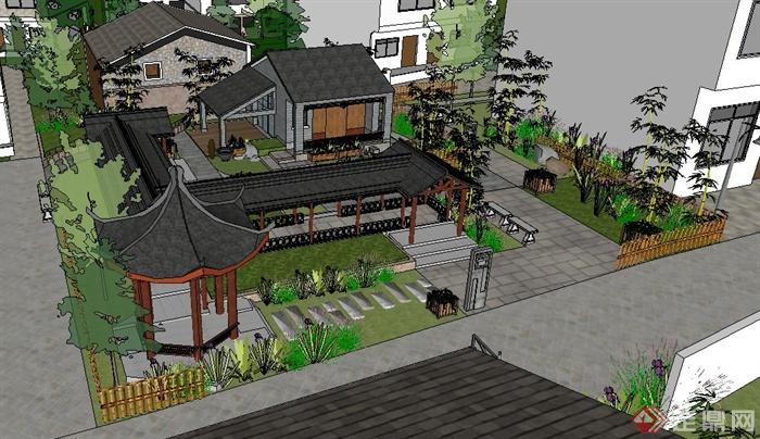 新农村住宅区中式公园景观设计su模型