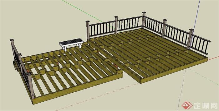 园林观景木平台su模型