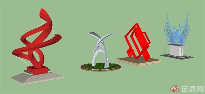 4款现代风格园林景观雕塑su模型