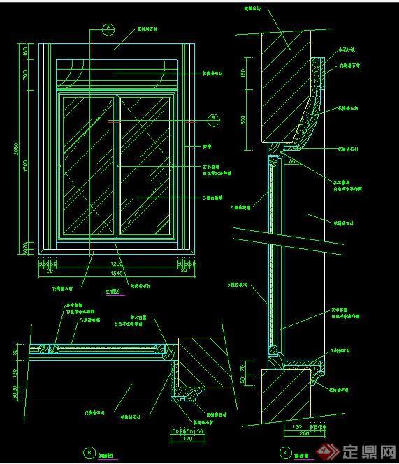 现代室内设计窗户施工图