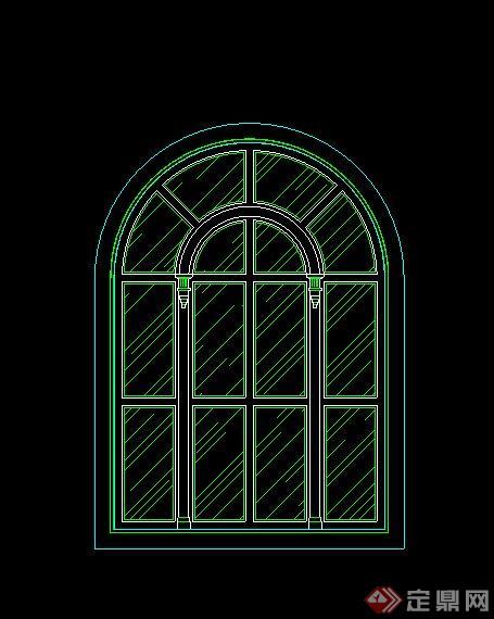 欧式拱形窗户cad立面图
