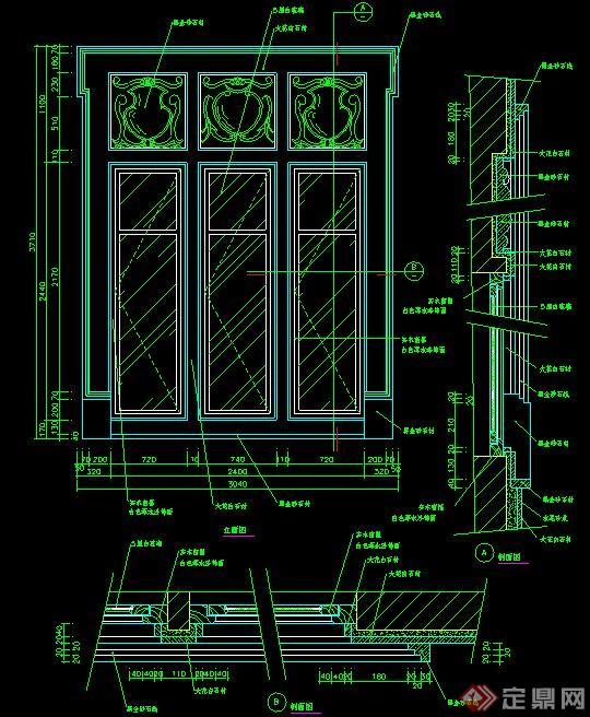 欧式风格窗户cad施工图