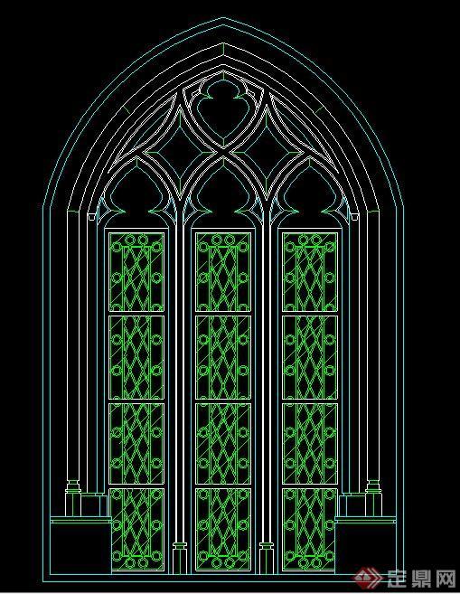 欧式风格教堂窗户cad立面图