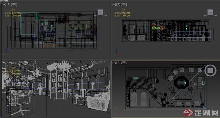 某现代理发店室内装修设计3dmax模型