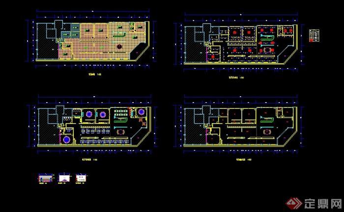 现代某餐厅室内平面布置图设计CAD图