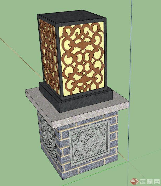 新中式灯柱设计su模型(1)图片