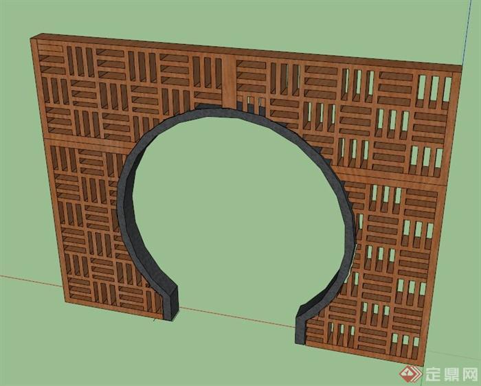 新中式木拱门设计su模型(1)