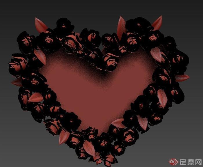 爱心形相框设计3DMAX模型图片