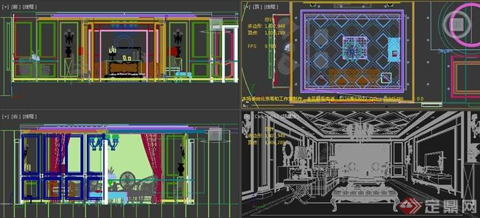 欧式风格家装某客厅室内设计3dmax模型
