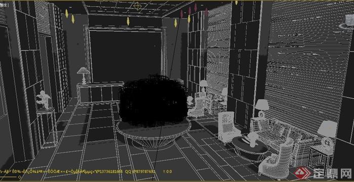 某现代大厅前台室内设计3dmax模型
