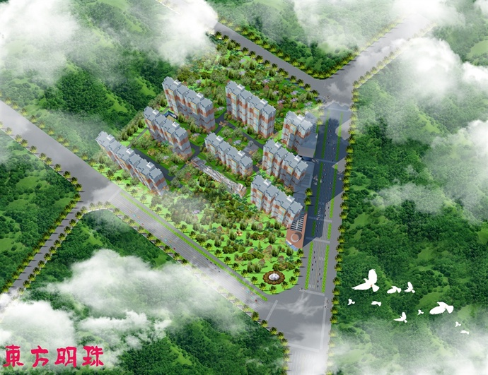 东方明珠小区鸟瞰图
