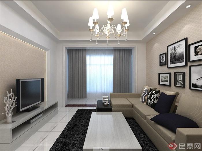 某现代新中式风格住宅室内客厅与餐厅装修设计方案