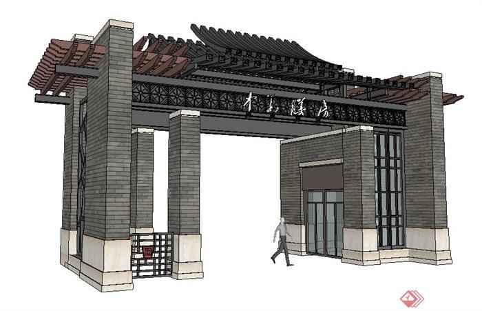 现代中式风格入口大门su模型(1)图片