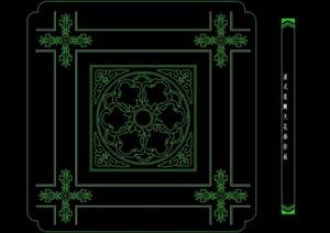 6款古典中式清式天花板彩画设计CAD方案图