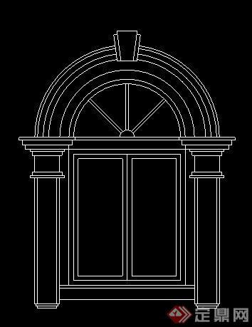 16款欧式风格拱形窗户cad立面图