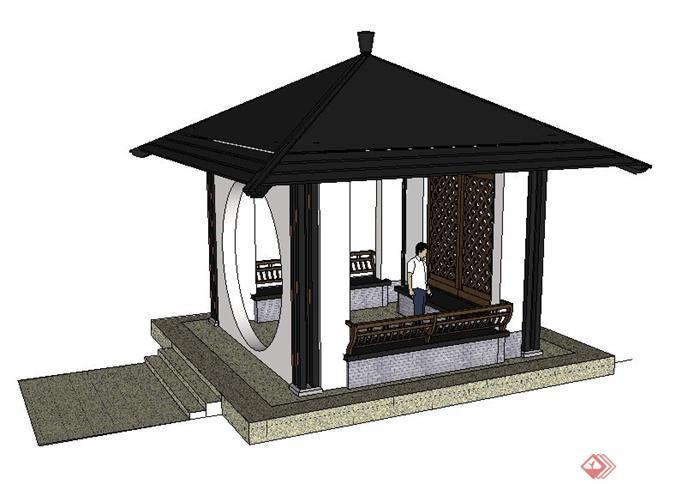 现代中式四角方亭su模型图片