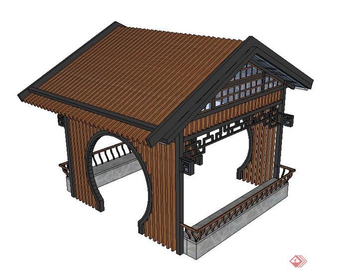 现代中式木质玻璃凉亭su模型
