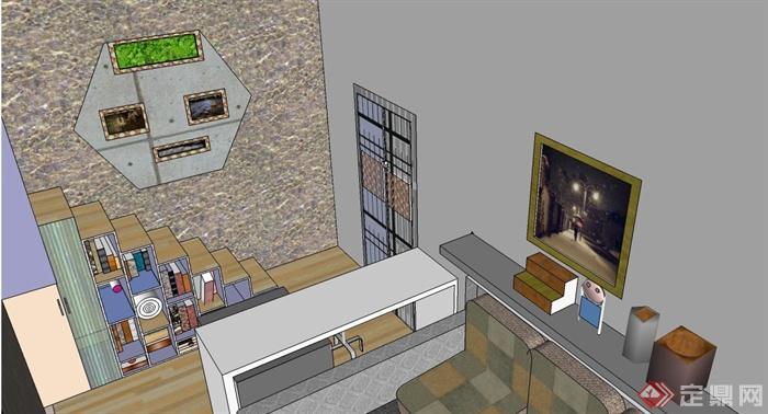 单身公寓复式住宅室内设计su模型