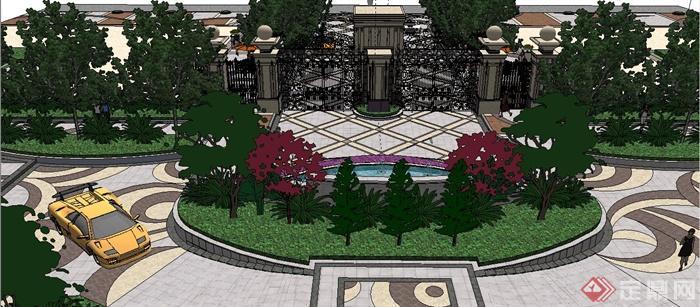 欧式小区大门及入口景观设计su模型[原创]