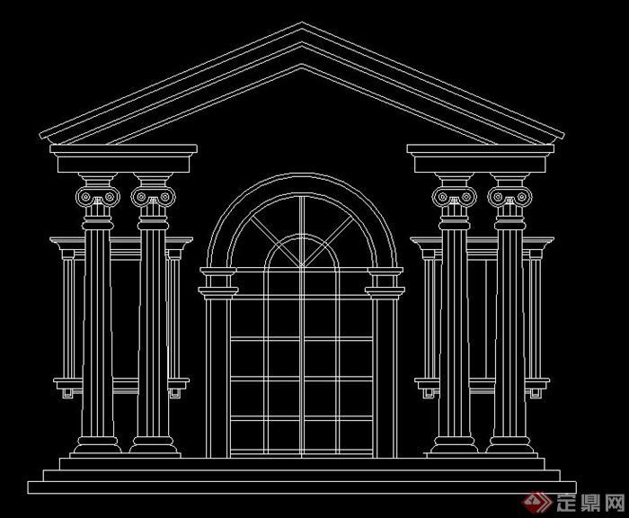 室内节点欧式风格门立面图